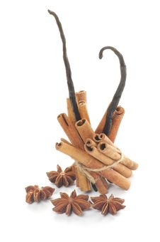 Cinnamon Sticks, Anise Star And Vanilla Pods Royalty Free Stock Photography