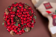 Red Hawthorn Ball And Christmas Boot Royalty Free Stock Images