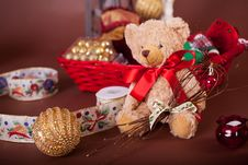 Free Christmas Teddy Bear Red Ribbon Royalty Free Stock Photo - 27753805