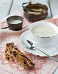 Free Biscotti And A Cup Of Coffee Royalty Free Stock Images - 27756209