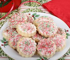 Plate Of Christmas Cookies Stock Photography