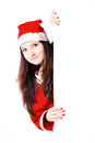 Free Pretty Young Girl Dressed As Santa With A Sign Royalty Free Stock Images - 27760189