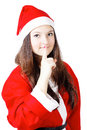 Free Pretty Young Girl In A Silence Santa Costume Stock Image - 27760251