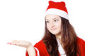 Free Pretty Young Girl Looking Dressed As Santa Stock Images - 27760324