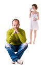 Free Guy In The Foreground, And A Girl With A Cup Royalty Free Stock Image - 27768916