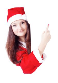 Pretty Teen Girl Dressed As Santa With A Sign Stock Images
