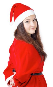 Free Pretty Young Girl Turned Around Dressed As Santa Royalty Free Stock Photos - 27760288