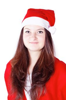Free Pretty Young Lady Dressed As Santa Claus Stock Photo - 27760420