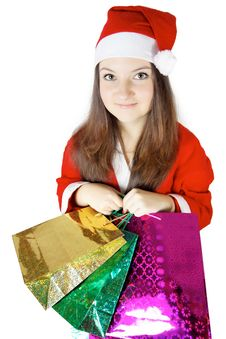 Free Pretty  Lady Dressed As Santa With Presents Royalty Free Stock Photo - 27760425