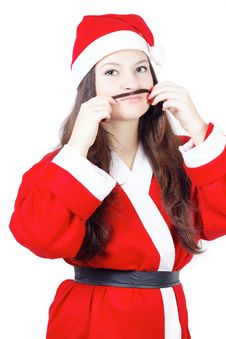 Free Portrait Of Pretty Young Girl Dressed As Santa Stock Images - 27760624