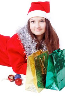 Portrait Girl Dressed As Santa With Shopping Stock Photography