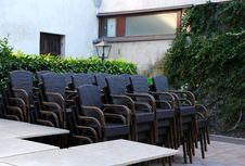 Free Stack Of Chairs In The Courtyard Restaurant Royalty Free Stock Image - 27761556