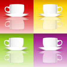Free Set Of Coffee Cups On Colored Backgrounds Stock Images - 27762384