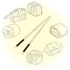 Free Sketchy Sushi Set Royalty Free Stock Image - 27762386
