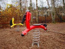 Steel Horses, Playground Stock Image
