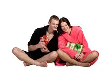 Young Couple In Robe Royalty Free Stock Image