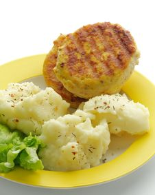 Mashed Potato And Cutlets Stock Images