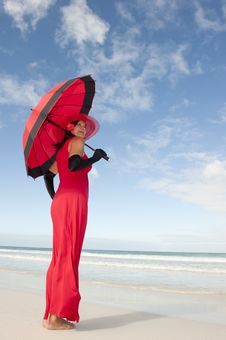 Lady Red Dress Umbrella Beach