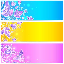 Free Colorful Blue, Yellow And Violet Flowers Banners Stock Photos - 27778233