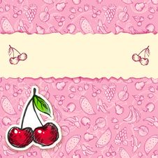 Free Glamour Cherry Hand-drawn Card Royalty Free Stock Photos - 27778428