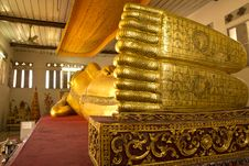 The Big Golden Reclining Buddha In The Important Temple Stock Photography