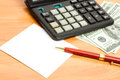 Free Pen, Calculator And Money Close Up. Stock Photography - 27789732