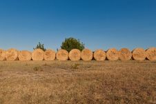 Row Of Bales Of Hay Royalty Free Stock Photography