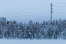 Free Powerlines And Snowy Trees Stock Photos - 27786033