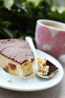 Cottage Cheese Cake With Raisin And Chocolate Stock Images