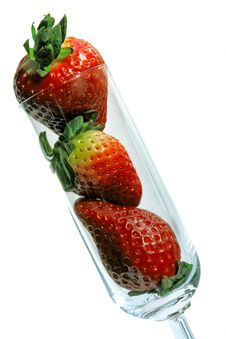 Free Flute Glass With Strawberries Royalty Free Stock Photos - 2780968