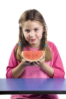 Free Girl And Watermelon Royalty Free Stock Photo - 2783175