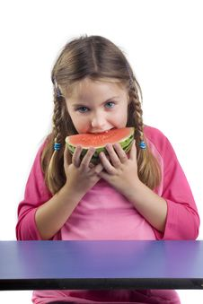 Free Girl And Watermelon Royalty Free Stock Photos - 2783178