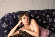 Free Girl On Sofa Stock Images - 2783194