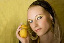 Blond Girl With Apricot