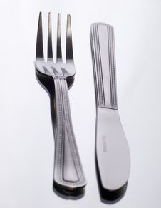 Free Knife And Fork On White Stock Photo - 2787050