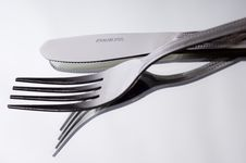 Knife And Fork On White Royalty Free Stock Photo