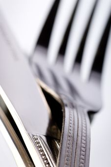 Free Knife And Fork On White Stock Photography - 2787102