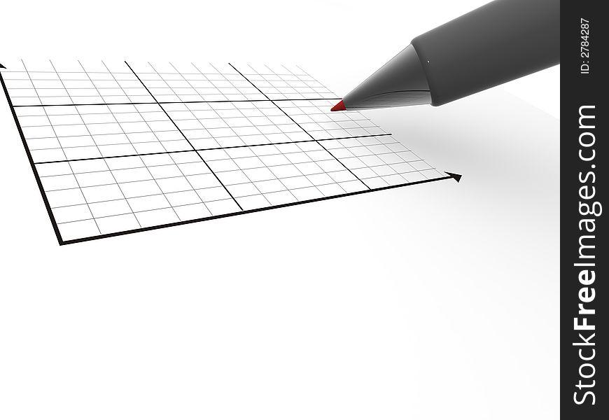 Pen with schedule. 3d