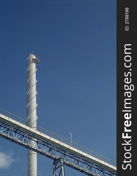 Smoke stack and conveyor belt