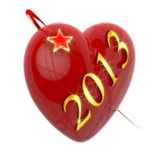 Free New Year 2013, Red Heart And Flying Star Royalty Free Stock Photo - 27801775