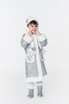 Free Little Girl Wearing Snow-maiden Costume Stock Images - 27801784