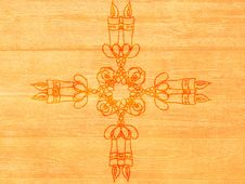 Candle Ornament On Wood Stock Image