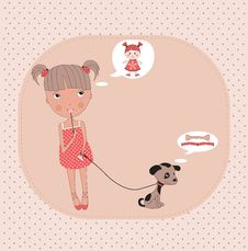 Free Little Girl With A Dog. Royalty Free Stock Images - 27803939