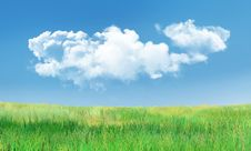 Free Cumulus Clouds And Grass Landscape Stock Photography - 27804192