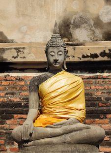Free Ancient Buddha Statue At Wat Yai Chai Mongkhol Royalty Free Stock Photos - 27804818