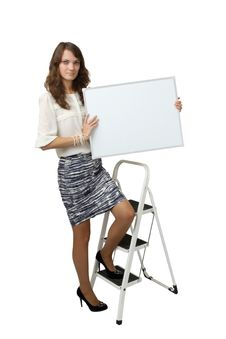 Business Woman Holding Banner Royalty Free Stock Photography
