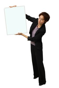 Business Woman Holding Banner Royalty Free Stock Photos