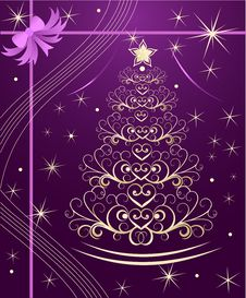 Free Christmas Tree With Gold Swirls Royalty Free Stock Photos - 27806998