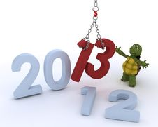 Free Tortoise Bringing In The New Year Stock Photo - 27808090