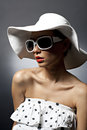 Free Young Beautiful Sexy Woman With Hat And Sunglasses Stock Images - 27810074